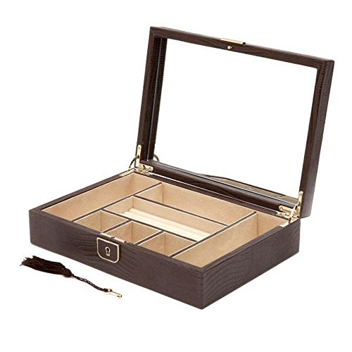 Women's WOLF Palermo Medium Jewelry Box in Brown Leather w/ 6 Compartments