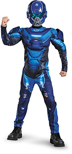 Winning Halloween Costumes For Kids (Blue Spartan Classic Muscle Halo Microsoft Costume, Large/10-12)