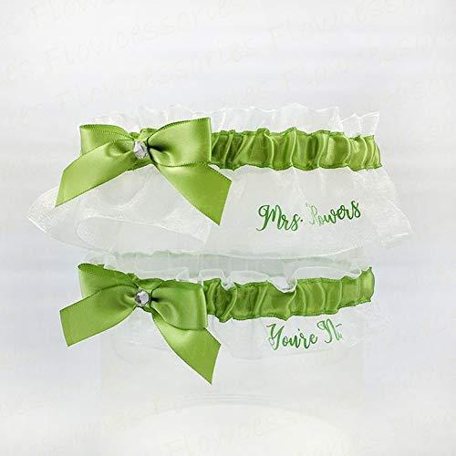 (Personalized handmade Lime Green Bridal Wedding Garters - Personalize Keepsake - You're Next Toss - Garter Set )