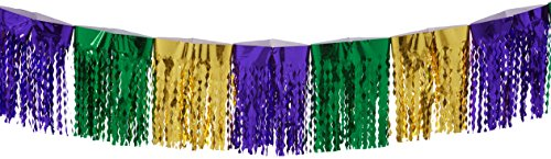 Beistle 50308-GGP 2-Ply Flame Resistant Diamond Metallic Fringe Drape, 12-Inch by 12-Feet