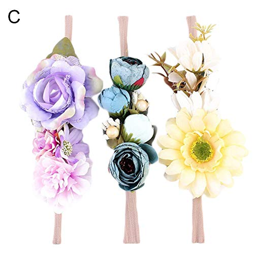 Basket Arrangement Lily (dezirZJjx Artificial Flowers 3Pcs/Set Kids Girls Flower Headband Hairband Baby Hair Accessories Headwear - C Style)