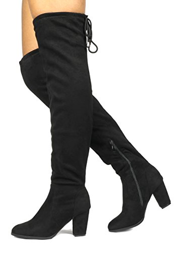 DREAM PAIRS HIGHLEG Women's Thigh High Fashion Over The Knee Drawstring Strech Block Mid Heel Boots Black-SZ-8.5 (Suede Over The Knee Boots)