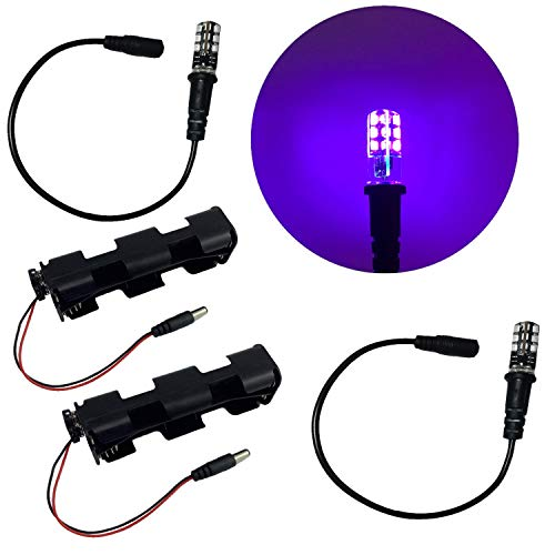 Effect Pigment - 2 Kits Blacklight LED Special Effects Lights for Props Scenery Fluorescent Glow Paints pigments 12V DC Battery Operated Low Voltage Ultraviolet Black Lights