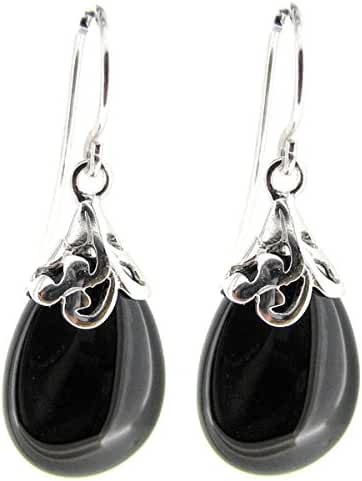 Teardrop Sterling Silver Filigree Flower Bail and French Hook Earwires Dangle Earrings