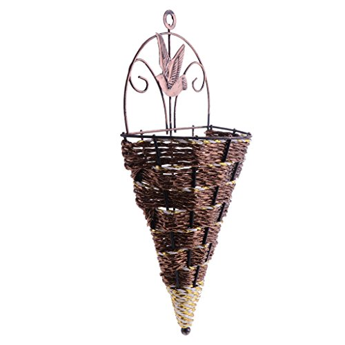 Agordo Wall Mounted Rattan Flower Planter Wicker Wall Hanging Flower Basket Decor