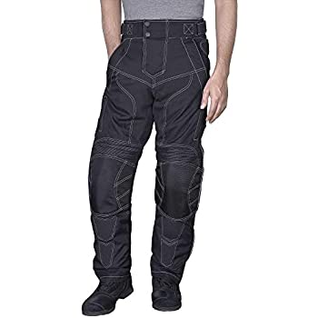 2XL Men Motorcycle Riding Pants WaterProof WindProof Black with Removable CE Armor PT5