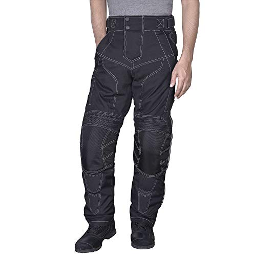 Men Motorcycle Riding Pants WaterProof WindProof Black with Removable CE Armor PT5 (3XL)