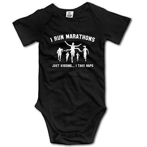 VANMASS Infant I Run Marathons Short Sleeve Bodysuit Clothes\r\nPlaysuit Clothes 0-3M Black