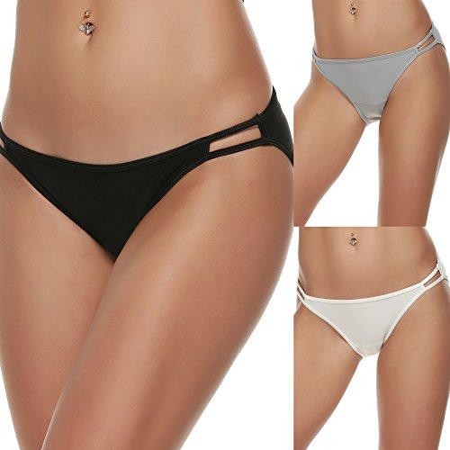 f6406ae1415c Ekouaer Bikini Panty Womens Seam Free String Microfiber Briefs 3 Pack  Assorted Colors