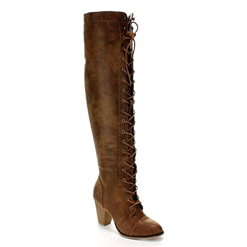 Forever Women's Knee-High Lace-Up Boot Tan 7.5