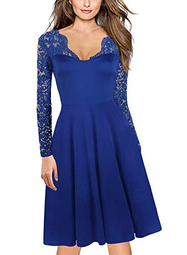Autumu Clothes for Women's 1960's 50s Vintage V-Neck Floral Lace Long Sleeve Stretch Cocktail Party Swing Dress 189 (L, Blue) -