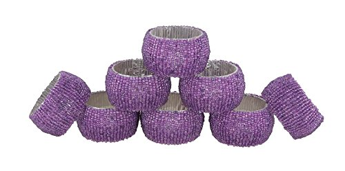 toyinngg Set of 8 -Purple Handmade Beaded Napkin Rings Set for Dinner Parties Table Decor -Diameter-1.5 Inch