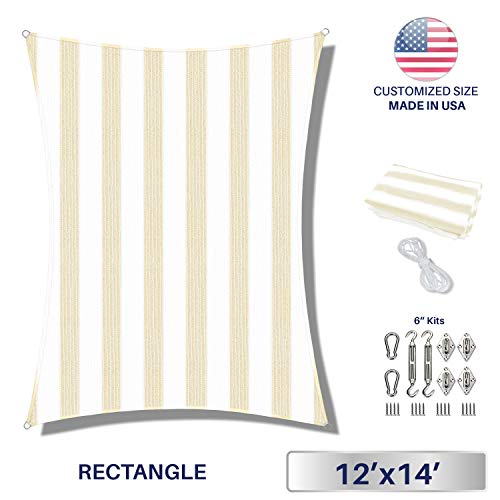 Windscreen4less 12 x 14 Rectangle Sun Shade Sail with 6 inch Hardware Kit – Wide Beige Stripes White Stripes Durable UV Shelter Canopy for Patio Outdoor Backyard – Custom