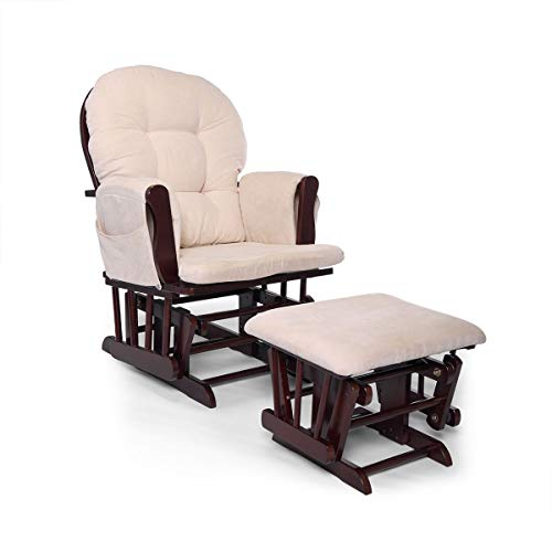 (JAXPETY Bow Back Glider and Ottoman with Beige Cushions Beech Wood Rocking Nursing Chair Relax Chair Set)