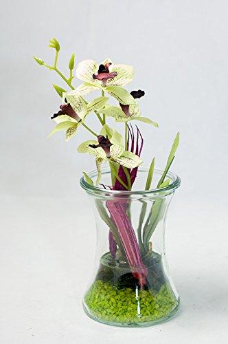 Grun Pinke Orchideen Im Glas Tischgesteck Tischdeko Mit Kunstlicher