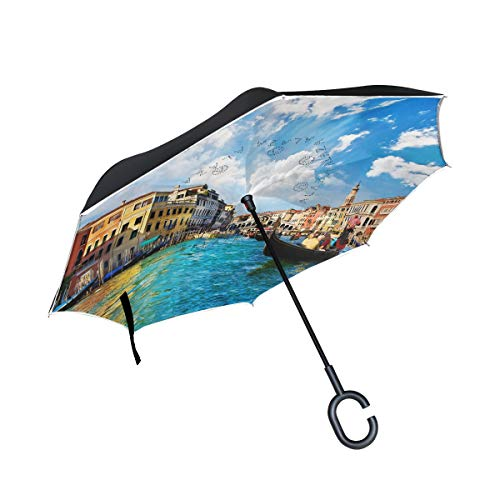 (Double Layer Inverted Umbrellas Venice Grand Canal Reverse Folding Umbrella Windproof UV Protection with C-Shaped Handle for Car Rain Outdoor Travel)