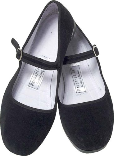 black cotton mary jane chinese dress shoes - 4