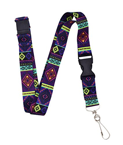 Violet Tribal Premium Lanyard With Breakaway Clasp and Snap Buckle by Limeloot
