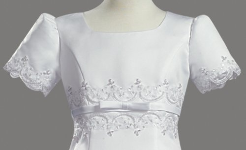 White Satin Embroidered A-Line Communion Dress - Size 12X by Swea Pea & Lilli