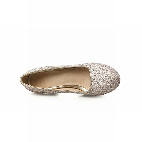 MissSaSa Damen Low-cut Plateau Pumps mit Stiletto und Pailletten elegant und modern high-heel runde Spitze Braut/Kleidschuhe Silber+Gold