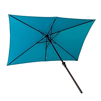 FLAME SHADE Rectangular Outdoor Patio Market Sun Shade Umbrella 6 6 x 10 Crank Lift Push Button Tilt Aqua Blue