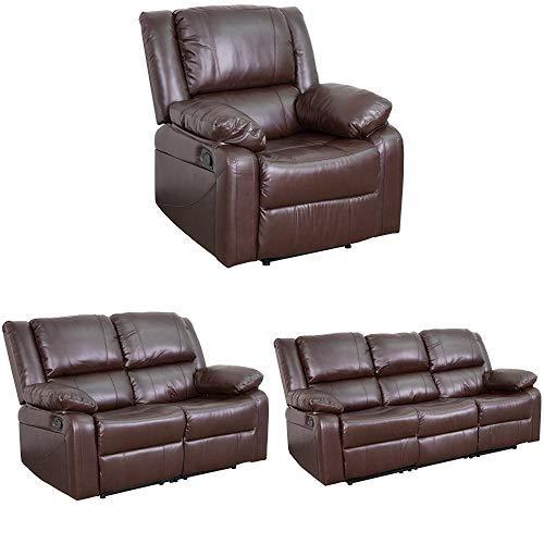 Flash Furniture Harmony Series Brown Leather Reclining Sofa Set
