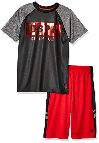 U.S. Polo Assn. Boys' Toddler 2 Piece Sleeve Athletic T-Shirt and Short Set, Charcoal Grey Red, 4T