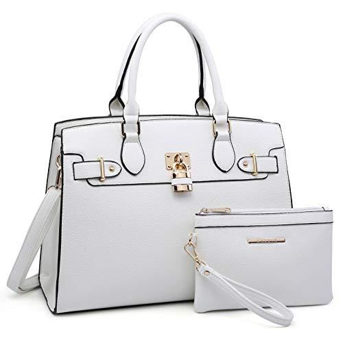 Women Handbags and Purses Ladies Shoulder Bag Ostrich Top Handle Satchel Tote Work Bag with Wallet (23- White) ()