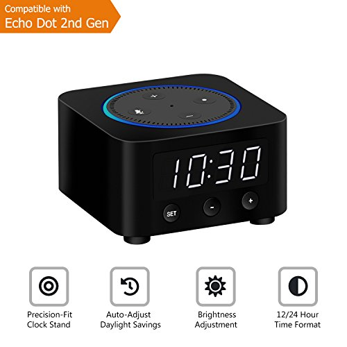 Desk Clock for Echo Dot 2nd Generation, Echo Dot Holder Stand Docking Station with LED Clock, Bedside Clock for Alexa Speaker, Saving Space on Nightstand or Tables (Black)