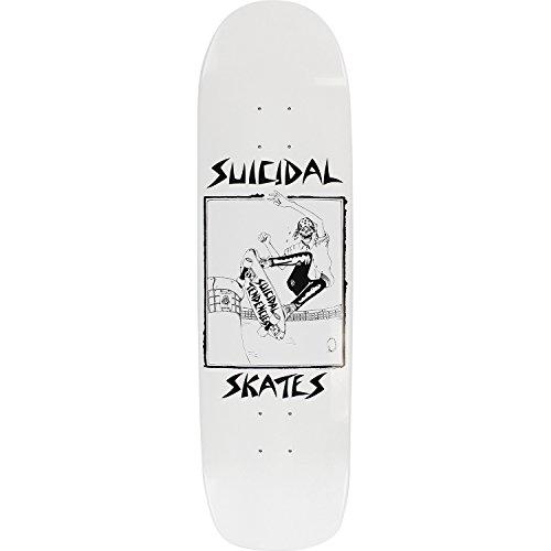地平線人工眼Suicidal Skatesプールスケーターホワイトグロススケートボードデッキ – 8.5