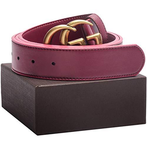 Matte Gold Buckle Wine Red Leather Unisex Fashion Belt for Mens Pants Jeans Shorts ~ 3.8cm Belt Width (Hermes Belt Cheap)