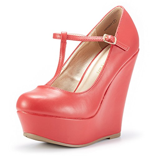 DREAM PAIRS Wedge-Height Red Pu Mary Jane Platform Wedges Shoes for Women Size 9.5 B(M) US