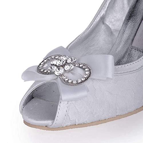 Satin 4 Heel Qiusa De Femmes Uk Chaussures Taille Toe Sandale 9cm White Ivory Peep Mz565 Strass Mariée Hauts 8cm À coloré Talons Heel P4qwrPxUB