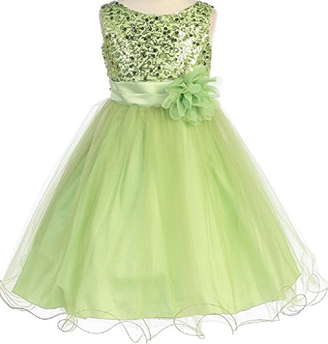 Little Girls Gorgeous Sequined Round Neck Tulle Flower Corsage Pageant Flower Girl Dress Lime 4 (K30D5)