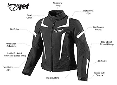 , Black//Sky Blue XL JET Womens Ladies Textile Motorcycle Motorbike Jacket Waterproof 14//16