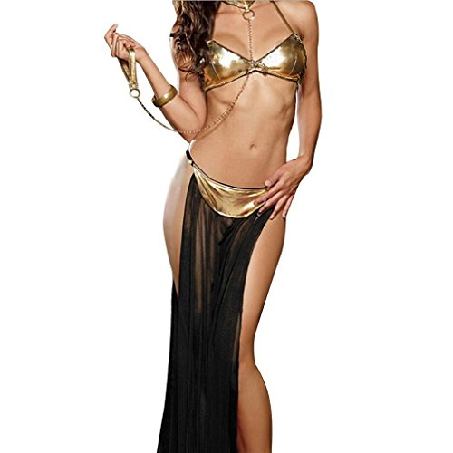[OLUOLIN Women's Sexy Lingerie Arabia Belly Dancer Costume Harem Slave Set,Black] (Sexy Belly Dancer Costumes)