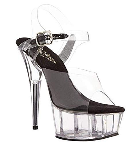 "Pleaser DELIGHT-608 Exotic Dancing Shoes, Ankle Strap 6"" Heel Platform Sandal. Clear/Black/Clear-Size 8"