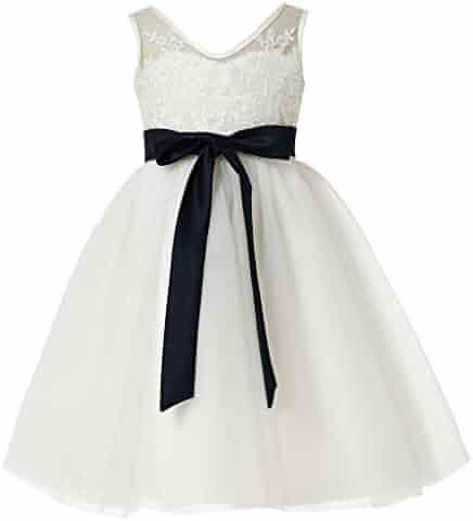 3fb5c6077 princhar Girl's Lace Tutu Flower Girl Dress Girls Junior Bridesmaid Dresses