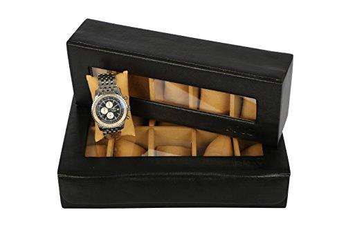 KRIO Designs JET BLACK PU Leather Premium WATCH Box Organizer for 5 watches