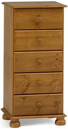 Non Branded 10220534 - Mesilla de Madera de Pino con 5 cajones y Patas Redondeadas, Color marrón