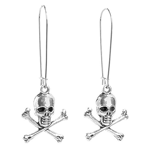 Sabai NYC Silver Tone Skull & Skeleton Charm Dangle Earrings on Kidney Earwires (Pirate Skull) Skull Crossbones Dangle
