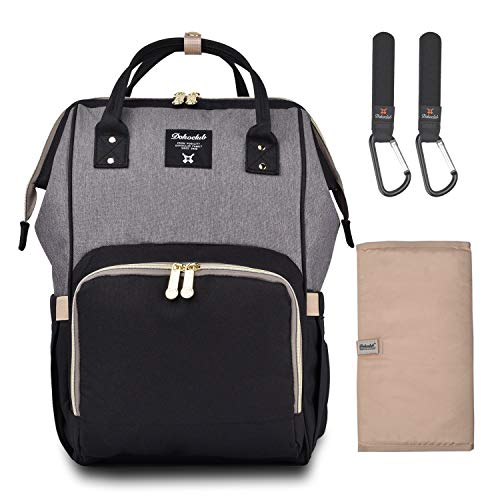 Diaper Bag Backpack, Multifunction Waterproof Travel Back Pack Nappy Changing Bags for Baby Care, Large Capacity Stylish and Durable(Black&Gray)