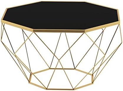 Online Winkelen Smeedijzeren salontafel, zwarte theetafel van gehard glas, achthoekige kleine bijzettafel, kleine bijzettafel (grootte optioneel)  Hn500DP