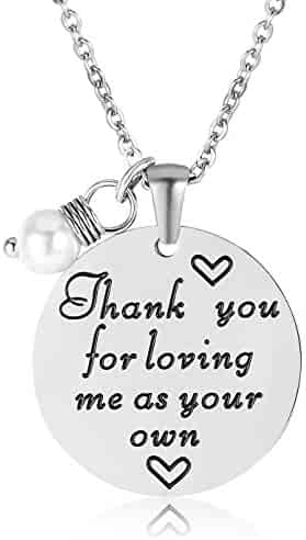 ELOI Christmas Gift for Stepmom Thank You For Loving Me As Your Own Necklace Mother's Day Gifts Bonus Mom Pendant Mother in Law Jewelry