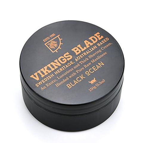 VIKINGS BLADE Black Ocean Luxury Shaving Cream, Traditional Swedish Heritage, 100% Pure Raw Manliness, 5.3 (Shave Viking)