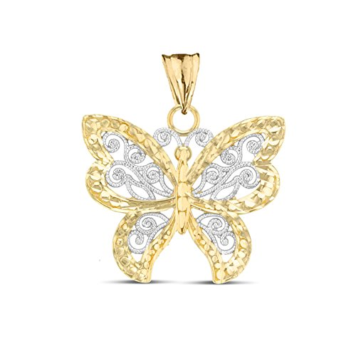 (Elegant 10k Two-Tone Yellow Gold Filigree & Sparkle-Cut Butterfly Charm Pendant)