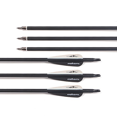 Huntingdoor-30-Archery-Carbon-Target-Arrows-Hunting-Arrows-with-Adjustable-Nock-and-Replaceable-Field-Points-for-Compound-Bow-or-Recurve-Bow-12-pack