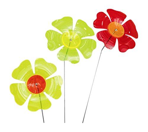 Siena Garden Sonnenfänger Set Blume, 3-teilig, Acrylglas/Metall, 17,8 x 17,8 x 95 cm, mehrfarbig