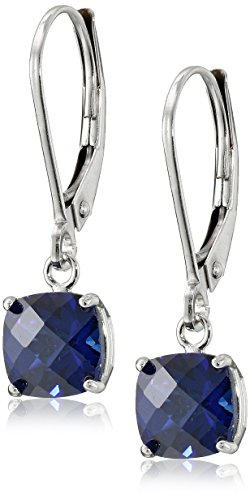 10k White Gold Cushion-Cut Checkerboard Created Sapphire Leverback Earrings (6mm)
