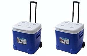 Igloo Ice Cube Roller Cooler (60-Quart, Ocean Blue) (Pack of 2)